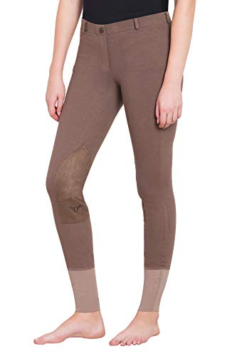 (TuffRider Women Starter Lowrise Pull On Breeches | Women's UltraGripp Knee Patch Horse Riding Pants | Ladies Equestrian Rider Tights)