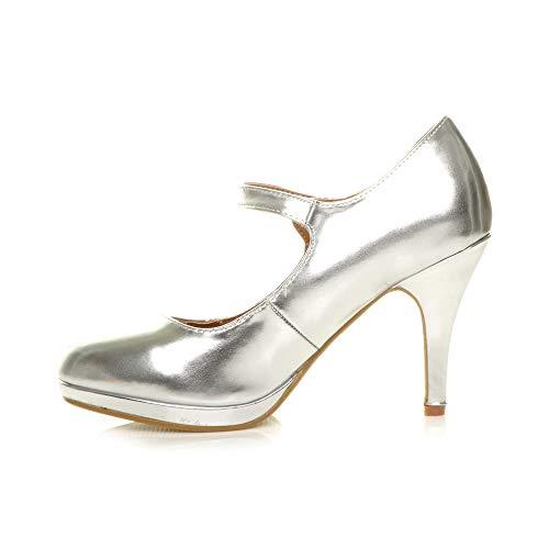 Métallique Pointure Argent Soir Haut Chaussures Babies Travail Escarpins Talon Mary Jane Femmes wRzxqgP7q