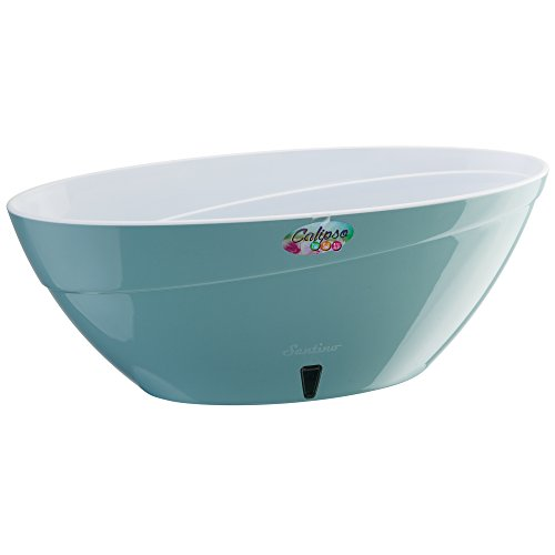 Santino Self Watering Planter CALIPSO Oval Shape L 13.5 Inch x H 5.1 Inch Jade/White Flower ()
