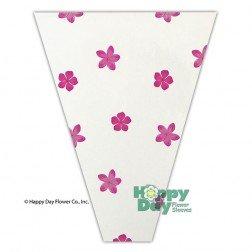 Flower Sleeve Printed Petals 4'' x 18'' x 16'' BOPP- Pack of 100 Sleeves (Pink) by HD Sleeves