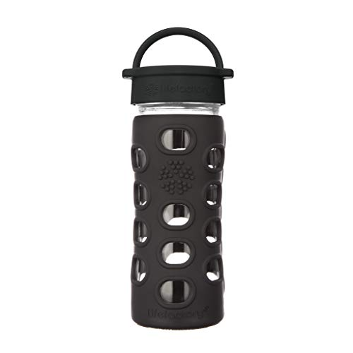(Lifefactory 12-Ounce BPA-Free Glass Water Bottle with Leakproof Classic Cap and Silicone Sleeve, Black)