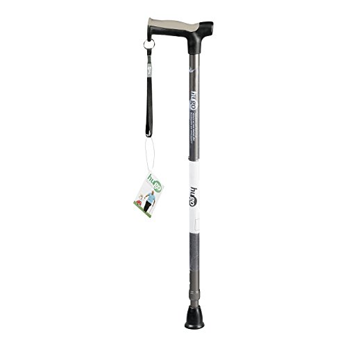 Hugo Mobility Adjustable Derby Handle Cane with Reflective Strap, Smoke ()