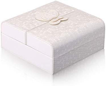 ジュエリーボックス 蝶形の旅行ジュエリーボックスケースとイヤリングのためのディスプレイケース腕時計ネックレス宝石ブレスレットオーガナイザージュエリー収納ボックス、女の子、女性ギフト (Color : White)