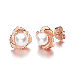 Rose Gold Plated Flower Freshwater Cultured Pearl Stud Earrings for Women Girls