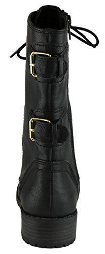 Cambridge Select Damen-Stiefeletten mit Schnürung und abgerundeter Schnalle Schwarz Pu / Gold