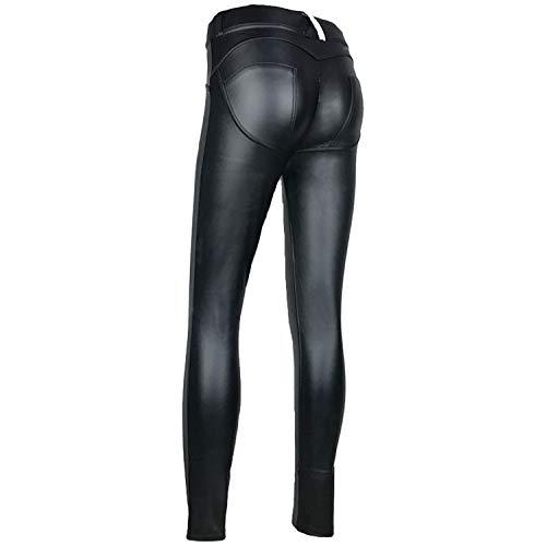 Pursuit-of-self PU Leather Low Waist Leggings Women Sexy Hip Push Up Pants,Black,S