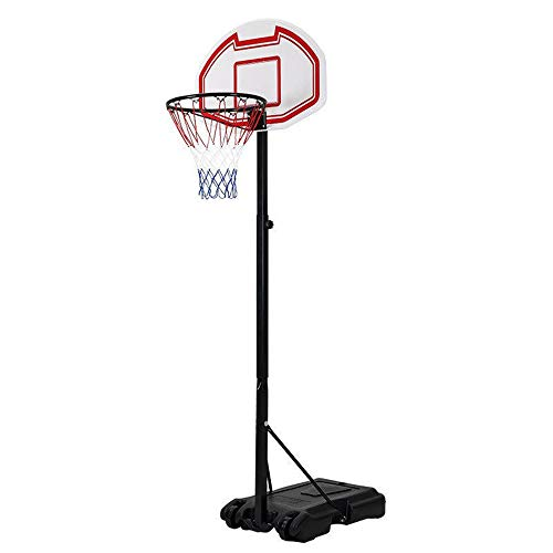 NOBLJX Portable Basketball Hoops Stand, Height Adjustable Pro Basketball System W/28 Inch Backboard, Steel Pipe Tripod Fixed, Safe and Stable for Kids, Junior