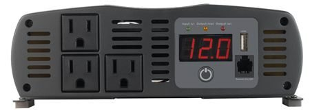 Power Inverter Converts 12 Volt DC to 120 Volt AC 1575 Continuous/ 3000 Peak Watts 3 Grounded AC Outlets LED Volt And Watt Meter Remote On/Off Capable With Thermal Protection/ Reverse Polarity Protection/ Low Voltage Shutdown/ Low Voltage Alarm 8.8 Inch Width x 9.35 Inch Depth x 3.27 Inch (Cobra Led)