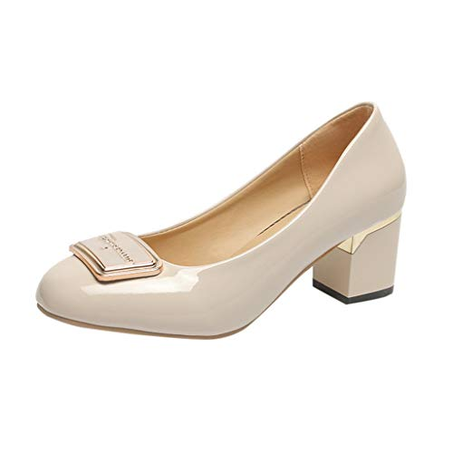 Aniywn Women's Elegant Round Toe Low Cut High Block Heel Pumps Wedding Shoes Formal Office Shoes White ()