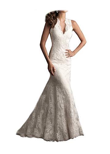 Ellenhouse Women's 2019 Lace Long Vintage Country Style Bridal Wedding Dress Ivory