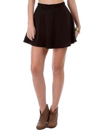 G2 Chic Women's High Waisted Solid Skater Skirt(BTM-SKT,BLK-S)