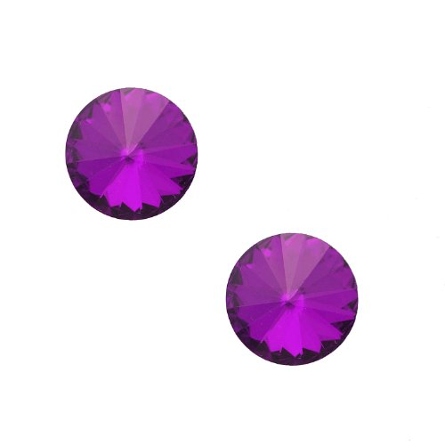 Spinning Studs Jewelry (Round Glass Crystal Stud Earrings (Purple))