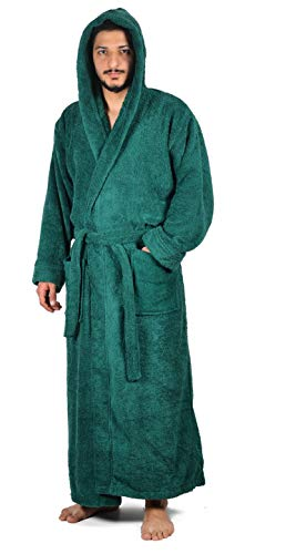 urkish Cotton Terry Full Ankle Length Hooded Bathrobe (XXX-Large/XXXX-Large, Green) ()
