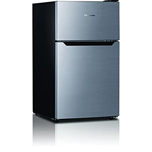 Hisense RT33D6BAE Compact Refrigerator With Double Door Top Mounted  Freezer, 3.3 Cu. Ft., Stainless Silver