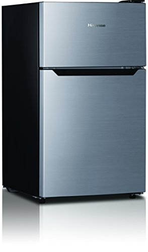 Galanz 3.1cu ft Compact Refrigerator Double Door, Stainless Steel ...