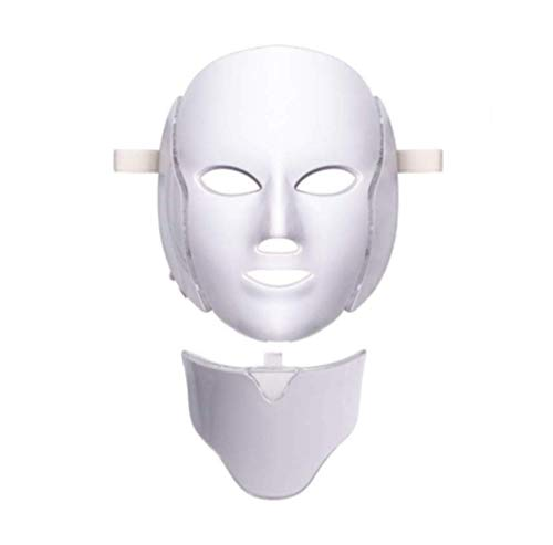 Oxygen Moisturizing (LED Facial Mask Photon 7 Color Light Therapy With Neck Beauty Skin Care Treatment Phototherapy By Tester Skin Rejuvenation Anti Acne Wrinkle Removal Therapy Moisturizing Brightening Complexion)