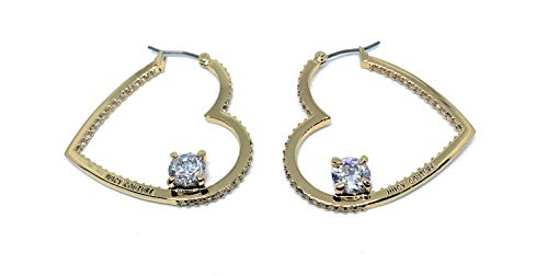 (Juicy Couture Goldplated Heart Hoops with Rhinestones - Earrings)