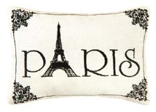 """""""Paris"""" - Small/Cute Embroidered ACCENT """"Pillow"""" (5 1/2"""" x 8 1/2"""")"""