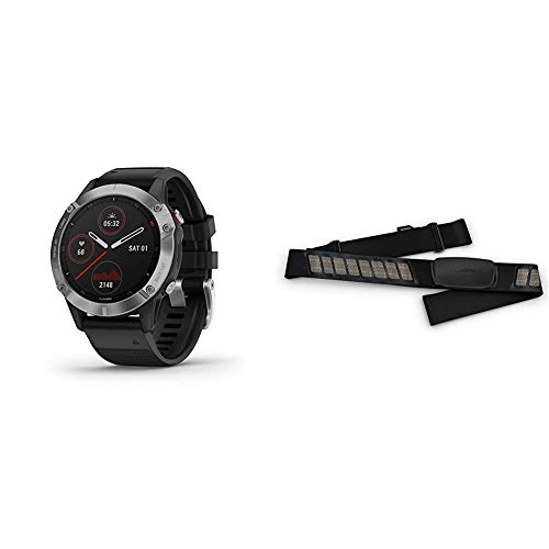 Garmin Fenix 6, Premium Multisport GPS Watch, Heat and Altitude Adjusted V02 Max, Pulse Ox Sensors and Training Load Focus, Silver with Black Band & 010-12883-00 HRM-Dual Heart Rate Monitor