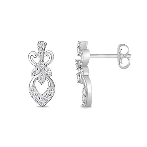 Round Cut Cubic Zirconia fleur-de-lis Stud Earrings for Womens Girls Teens 14k White Gold Plated