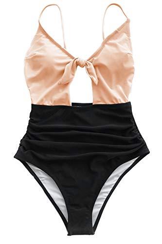 8607acf3c5 CUPSHE Women s Sweet Honey Bowknot One-Piece Swimsuit Beach Swimwear Small