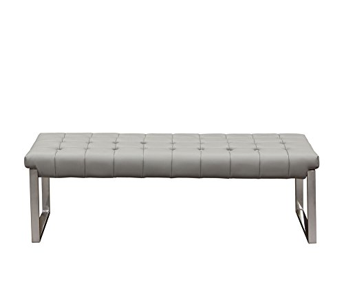 Diamond Sofa Backless and Tufted Bench with Stainless Steel Frame in Grey
