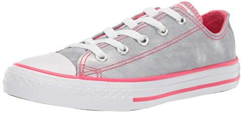 (Converse Girls Kids' Chuck Taylor All Star Tie-Dye Low Top Sneaker Wolf Grey/Strawberry Jam/White 1 M US)