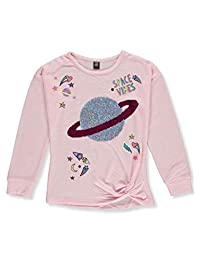 Star Ride Girls' Twisted Knit Flip Sequin L/S Top