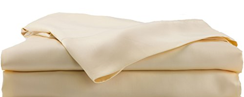 (Hotel Sheets Direct Bamboo Bed Sheet Set - 100% Viscose from Bamboo Sheet Set, Cooling, Thermoregulating, Hypoallergenic (Queen, Cream/Yellow) )