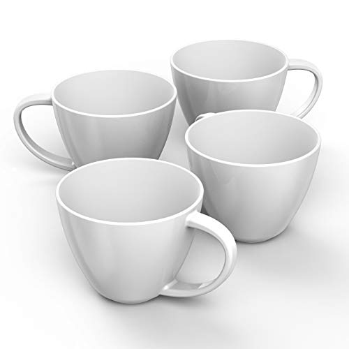 - Francois et Mimi Jumbo Wide-Mouth Soup & Cereal Ceramic Coffee Mugs, 18 oz, Set of 4 (White)