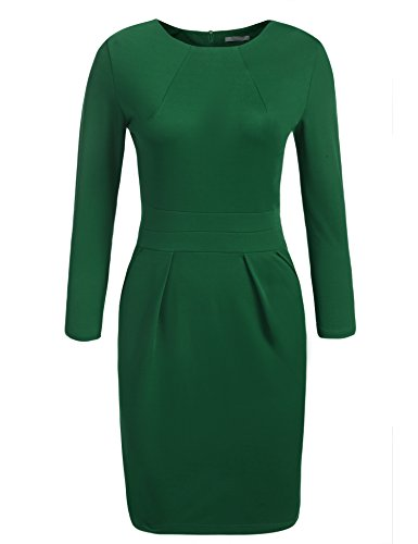 (ACEVOG Women's 3/4 Sleeve Official Wear to Work Retro Business Bodycon Party Pencil Dress, Green,)
