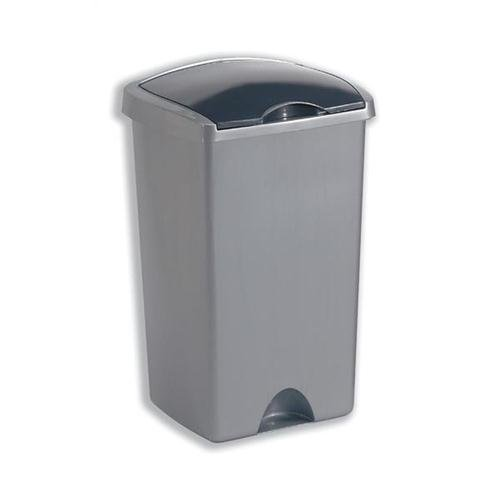 Bin with Lift Up Lid Plastic 50 litres Metallic Silver 015381
