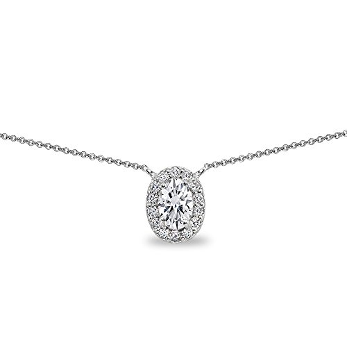 Sterling Silver Cubic Zirconia Oval Halo Choker Necklace by GemStar USA