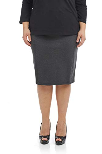 (Esteez Women's Pencil Skirt Ponte Knit Slimming Side Panels Charlotte Charcoal)