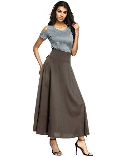 Calvin & Sally Women's Casual Flowy Dress High Waist Pleated Midi Skirt with Pockets (Medium, Olive Grey) by Calvin & Sally