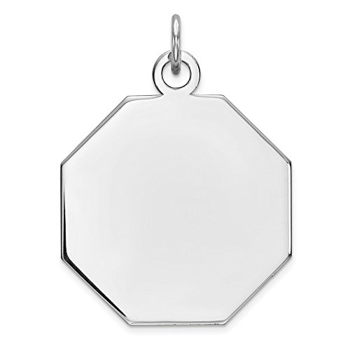 925 Sterling Silver Rh Plt Engraveable Octagon Front Back Disc Pendant Charm Necklace Engravable Octagonal Fine Jewelry Gifts For Women For Her (Charm Disc Octagon)