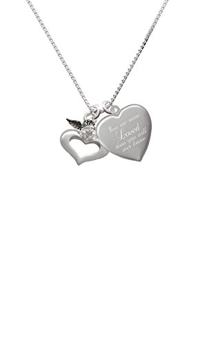 Guardian Angel over Heart You are more Loved Heart Locket Necklace
