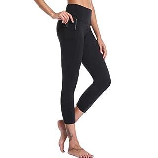 Oalka Women's Yoga Capris Running Pants Workout Leggings Black Outside Pockets XXL