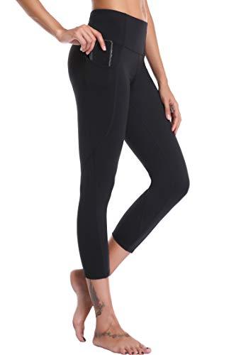 Oalka Women's Yoga Capris Power Flex Running Pants Workout Leggings Black Outside Pockets L