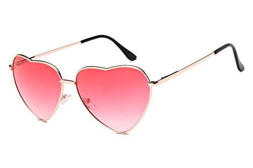 Gold Heart Wire (Chezi Women's Metal Colorful Tinted Lens Heart Sunglasses (gold, pink))