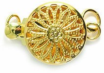 Shipwreck Beads Electroplated Brass Clasp Box Round Filigree, 11mm, Metallic, Gold, (Filigree Box Clasp)