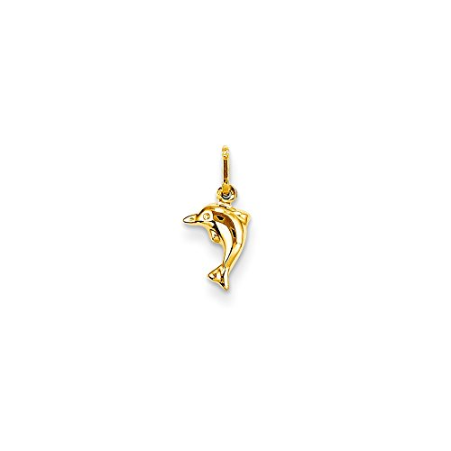14k Yellow Gold Madi K Small Hollow Dolphin Charm - 14k Hollow Dolphin Charm
