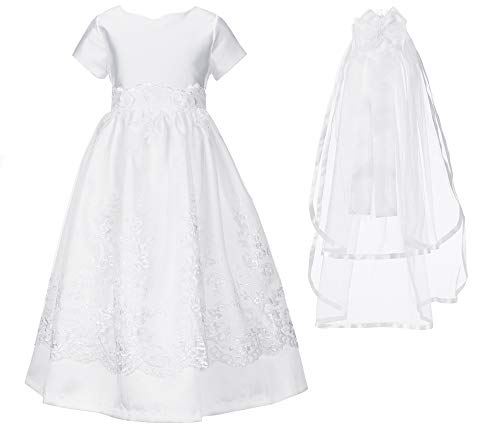 - Bonnie Jean Girl's First Communion Dress with Veil Set, Short Sleeve (8) White