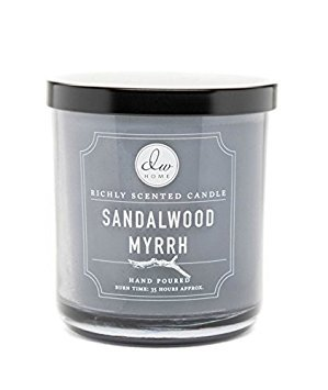 Decoware Richly Scented Sandalwood Myrrh 9.88 Oz. Candle In Glass With Black Lid