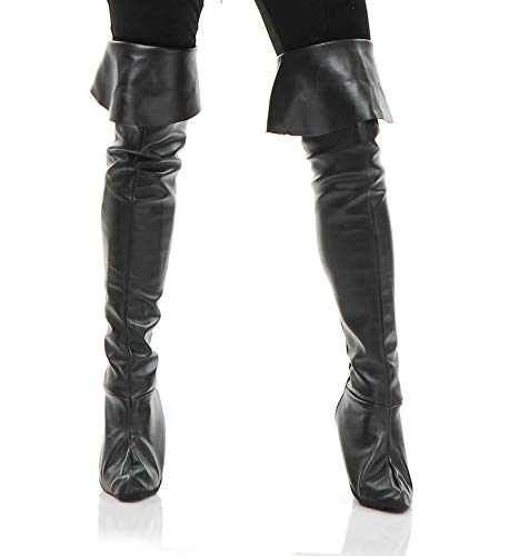 (Charades Women's Thigh High Boot Tops, Black,)