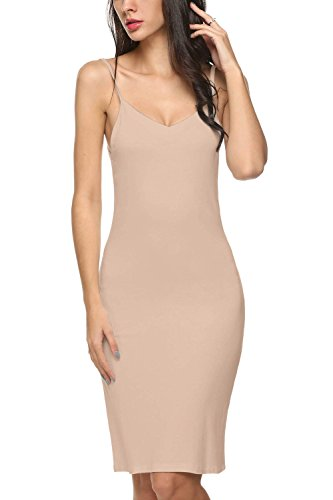 (Avidlove Women Full Slips Cotton Blend V Neck Straight Dress Nightwear Skincolor (FBA) S)