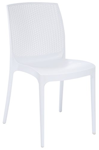 Stackable Patio Dining Chair – White – 4 Piece Set – Heavy Duty Plastic – Rattan Look Back