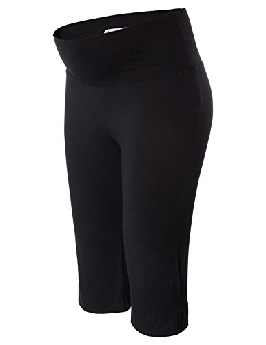 (Maternity High Waist Capri Crop Support Leggings Over The Belly Black M)