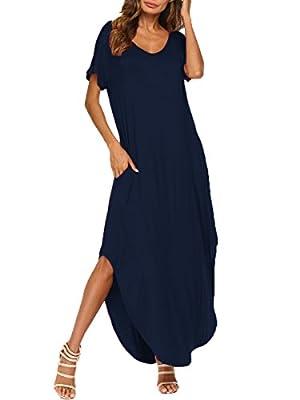 BLUETIME Womens V Neck Casual Maxi Dress Pocket Short Sleeve Split Loose Long Dress