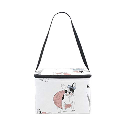 for Tower Lunchbox French Eiffel Paris Bulldog Picnic Lunch Strap Shoulder Cooler Bag wxXPqZ0